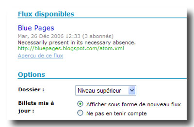 Flux disponibles et Options de Blue Pages dans Bloglines