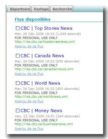 Flux disponibles de CBC.ca-News