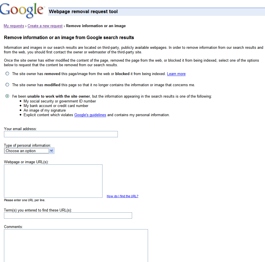 Official Google Webmaster Central Blog: Requesting removal of ...