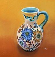 floral vase pastel painting