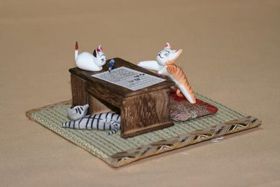 'Cats on the Desk': Pussy Parties, from GoodsFromJapan.