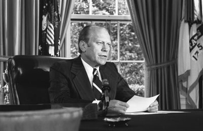 President Ford announces his decision to pardon former President Richard Nixon. Photo courtesy Gerald R. Ford Library
