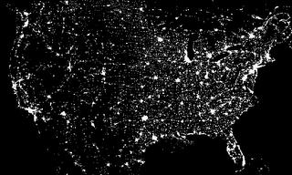 Light pollution over USA