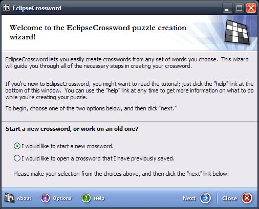 EclipseCrossword main window
