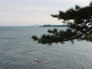 View of the uninhabited Mikawa and Oshima Islands