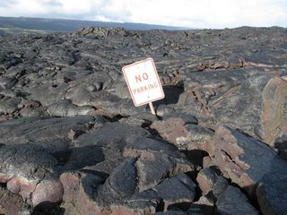 'No Parking' sign in a lava flow, Hawaii.