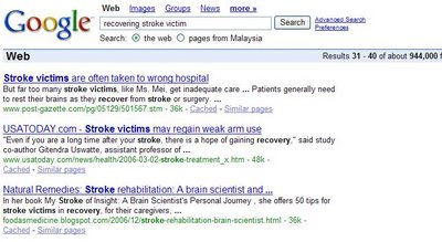 Google search result page for 'recovering stroke victim'