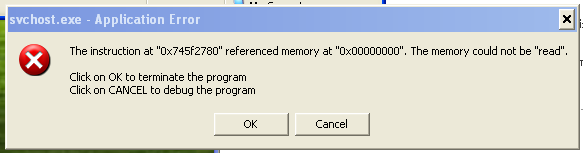 svchost.exe error memory could not be read