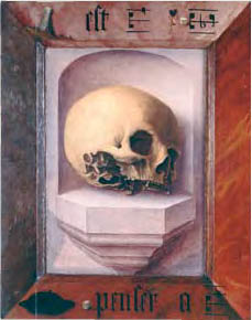 Jan Provoost, Skull in a Niche, recto of 54-Year-Old Franciscan, 1522, Sint-Janshospitaal, Bruges