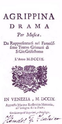 Title page of Agrippina, by G. F. Handel