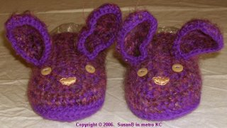 crocheted purple bunny slippers