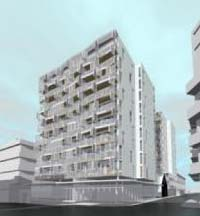 Perspective of proposed Q on Taranaki apartments