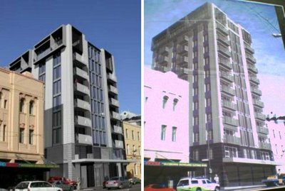 Bellagio apartments, taranki St - comparison of old and new renderings