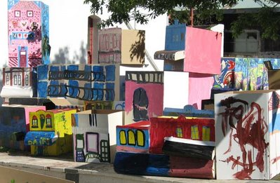 Cuber Street: cardboard renditions of local buildings at the Cuba St Carnival