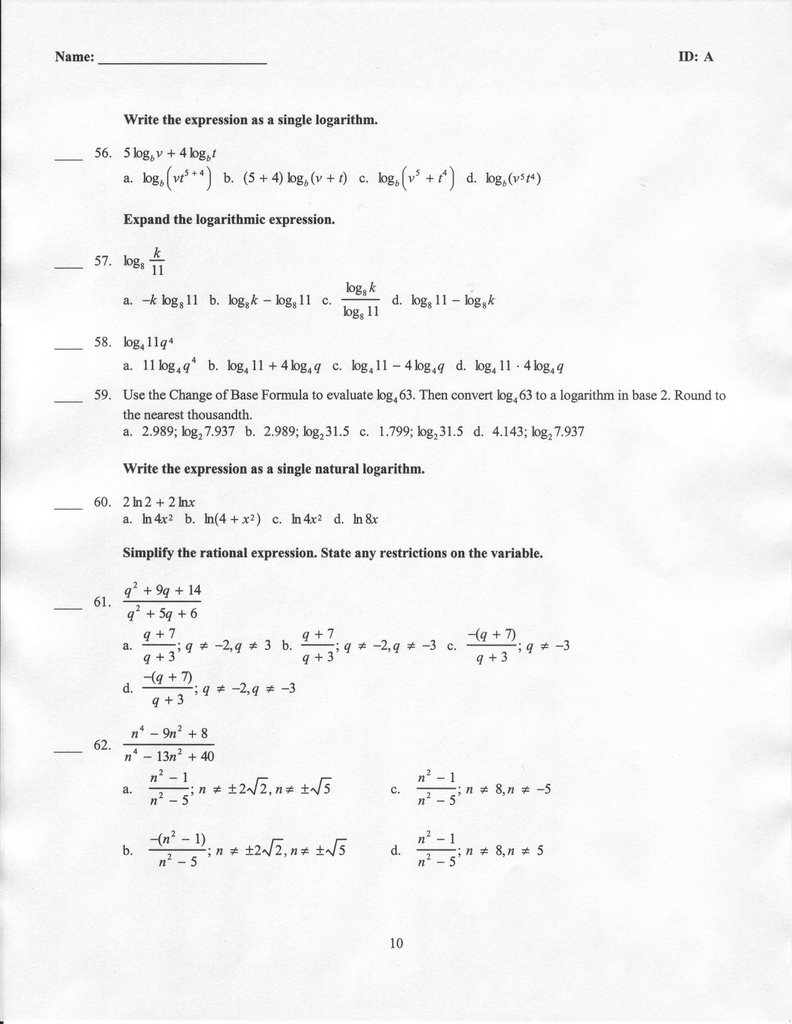 Final Exam Review pgs. 9-12 of 12