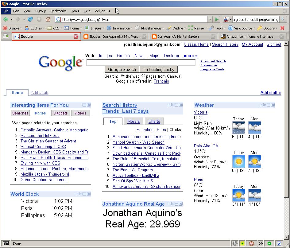 Jon Aquino's Mental Garden: Google personalized start page