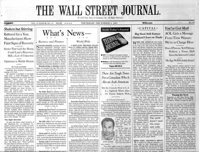 The Wall Street Journal is an economic and financial newspaper and website based in the U.S.A. Wall Street Journal Corporate Offices HQ.