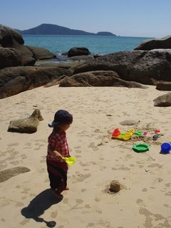 My son enjoys our private beach