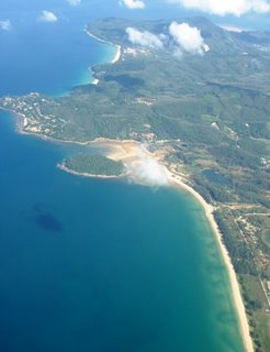 Northern Phuket - you can see part of Bang Tao Beach and Naithon Beach