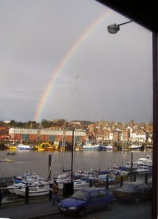 Rainbow over Whitby, this morning