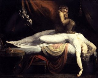 Nightmare by Henri Fuseli (imp sitting on sleeping woman)