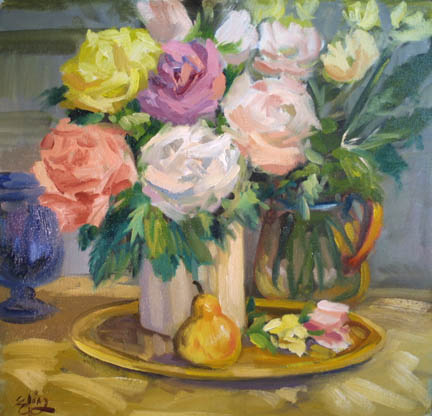 Flower Joy Almost Square At 15 5 X 16 Inches This Is A Nice Painting Full Of The Flowers In Bouquet With Pear Oh Those Pears And Some
