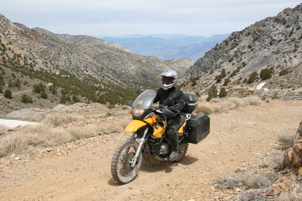 RawHyde Adventure Rally at Ballarat, CA - Anne Girardin arrives at Cerro Gordo Pass