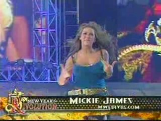 Mickie james and trish stratus vs candice michelle and victoria tag team match raw 2005 - 3 5