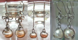 Wire Wrapped Pearl Earrings