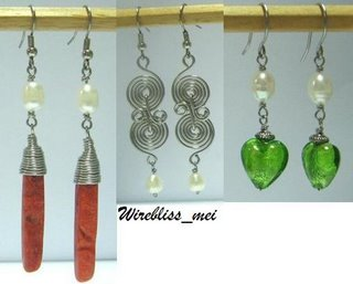Wire Wrapped Earrings with coral, pearl and glass beads