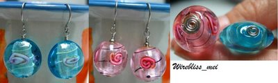 Wire Wrap Glass Bead Earrings