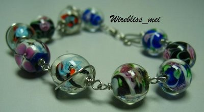 Wire Wrap Glass Bead Bracelet