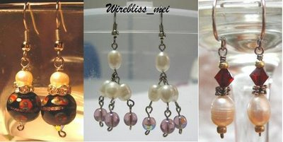 Wire Wrapped Pearl and Glass Bead Earrings