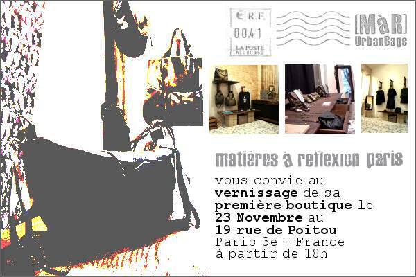 boutique opening vernissage mati res r flexion paris. Black Bedroom Furniture Sets. Home Design Ideas