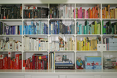 books arranged on bookshelves by color