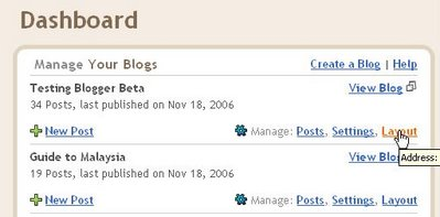 Blogger beta Dashboard