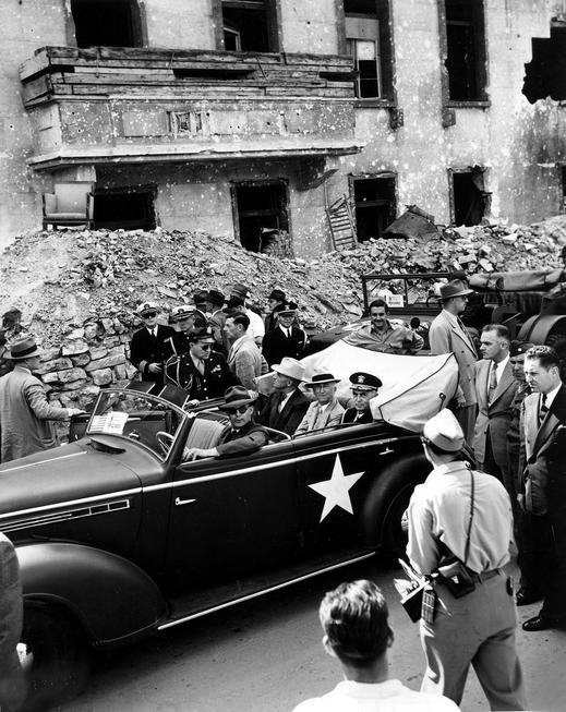 President Harry S Truman rides through Berlin Germany July 1945