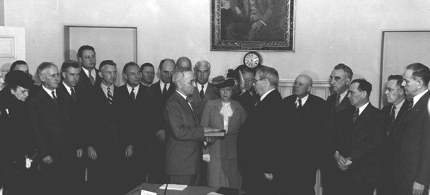 Harry S Truman inaugerated US President APril 12, 1945