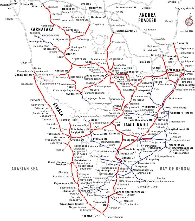 Southern Railway Map Of India.Maps