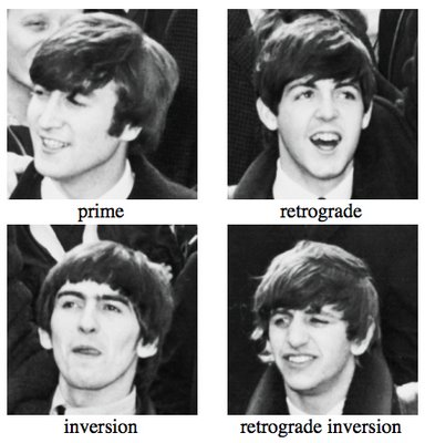 The Beatles--John (Prime), Paul (Retrograde), George (Inversion), Ringo (Retrograde Inversion)