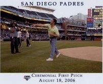 Throwing out the First Pitch at the Padres