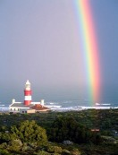 A rainbow entering the most Southern point of Africa