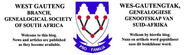 Genealogical Society of SA, West Gauteng Branch