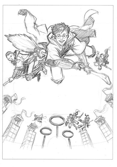 Harry Potter Playing Quidditch Coloring Pages