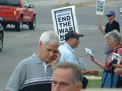 These protests at Coleman's local office will continue as long as he continues to support the war