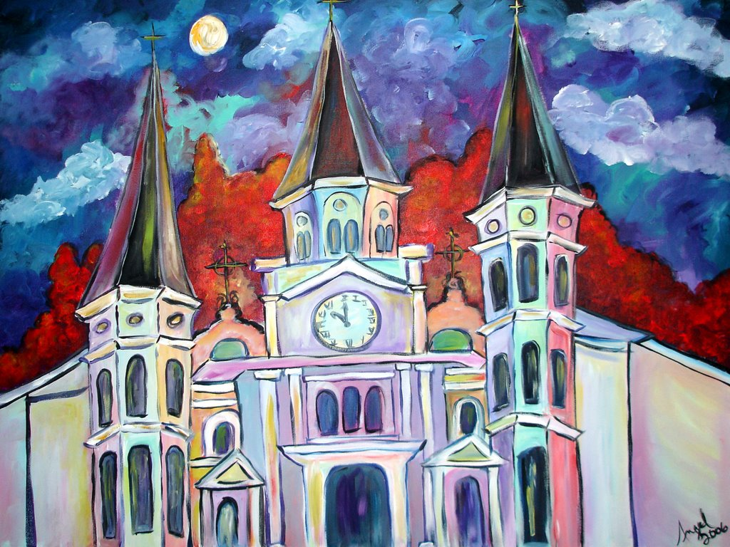 New Orleans Holiday Art St Louis Cathedral Painting Church