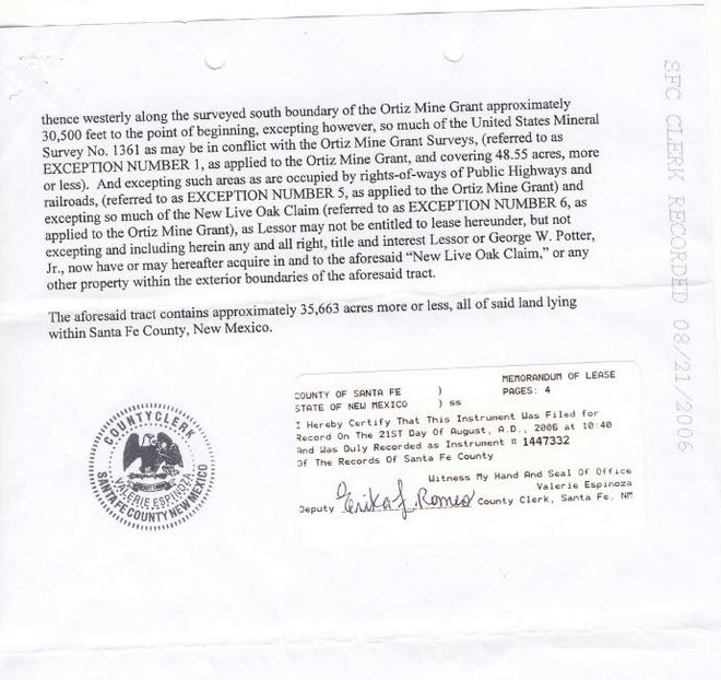 Ortiz Mines, Inc Memo of Oil & Gas Lease Exhibit A Part 2
