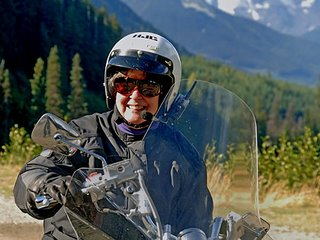 Robin, cycle rider, on her way to Jasper, 2006, photo by Robert Demar
