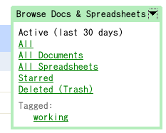 Browse Docs & Spreadsheets